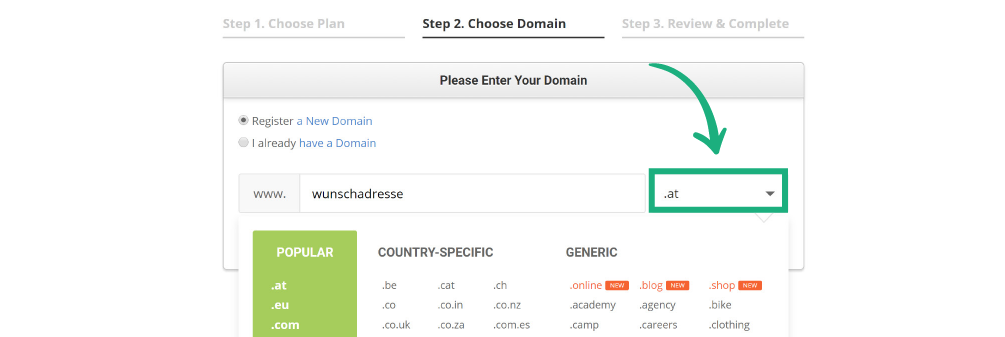 Domain Endung auswählen