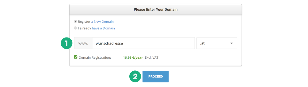 Wunsch Domain auswählen